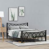 EELIFE Double Bed Solid 4ft6 Bed Frame Double Metal Bed with Headboard for Adult/Teenagers/Guest Room/Office, Black (135 x190 cm)