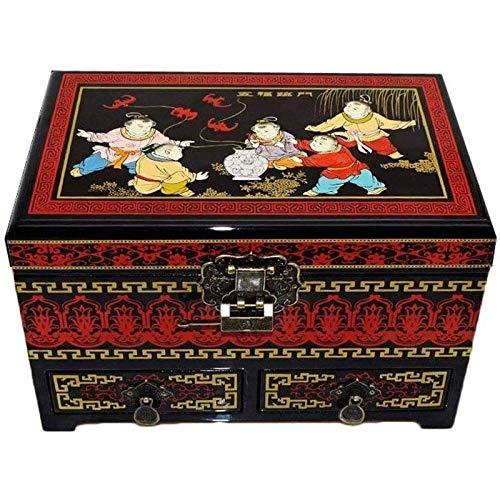 Hxcuza La Caja de aderezo almacena Regalos de cumpleaños y Regalos de Boda de Madera lacada a la Antigua