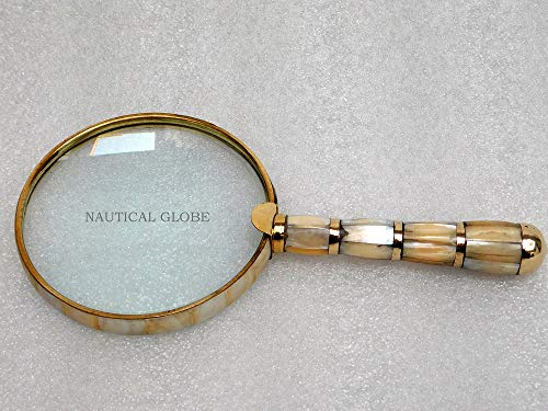 KHUMYAYAD Solid Brass Mother of Pearl 10X Magnifier, Handheld Reading Magnifying Glass, Best for Reading, Crossword Puzzle, Rocks, Coins, Stamps and