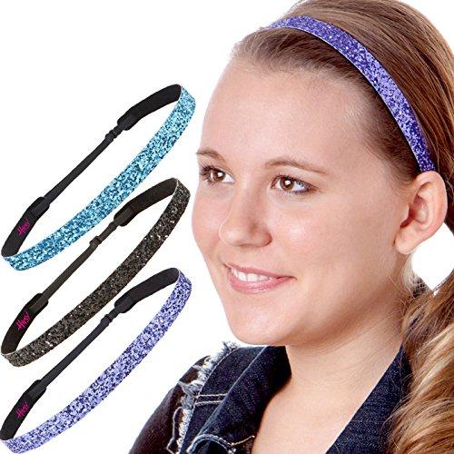 Hipsy Damen-Haarband, verstellbar, rutschfest, glitzernd, mehrfarbig, 3 Stück (Blaugrün/Schwarz/Violett)