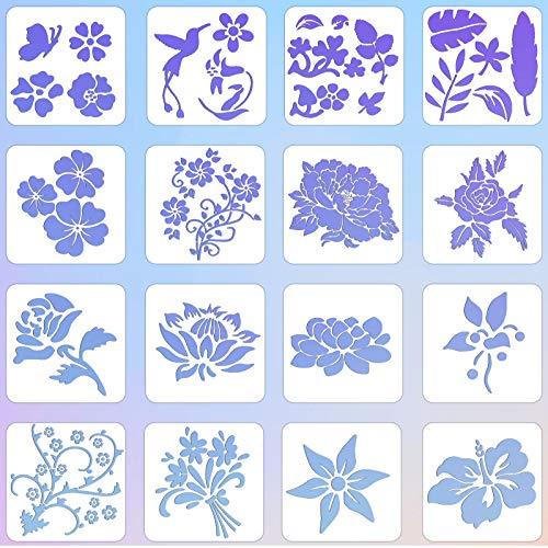16 Stück Blumen Zeichenschablonen Rosen Schablone Kunststoff Fliegend Vogel Malerei Vorlagen Kreative DIY Wiederverwendbar Pflanze Blume Blatt Zeichnungsvorlage zum Malen auf Holzwand Wohnkultur