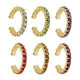 Happyyami 6 Pezzi Orecchini Cartilagine Set Orecchio Clip Huggie Non Piercing di Strass Orecchio Polsino per Donne Ragazze