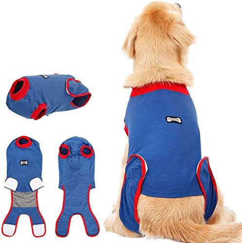 AIWOKE Genesung nach der Operation Alternative E-Collar für Welpe Recovery Suit Hund, Haustiere postoperative Pflege Haustiere Schutzkleidung Wunden nach Chirurgie Verhindern Sie lecken, beißen (XXL)