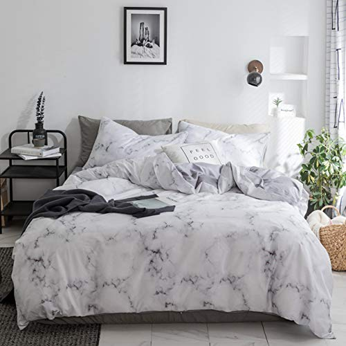 Soft Queen Duvet Cover Set White Marble,3 Piece-Best Bed Sheet 100% Cotton with Zipper Closure, Best Organic Modern Style for Men and Women