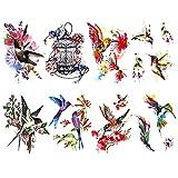 Kotbs 8 Sheets Temporary Tattoos Animal Birds, Bright Watercolor Hummingbird Tattoo Stickers for Women and Girls, Lasting Body Art Fake Tattoos for Teens