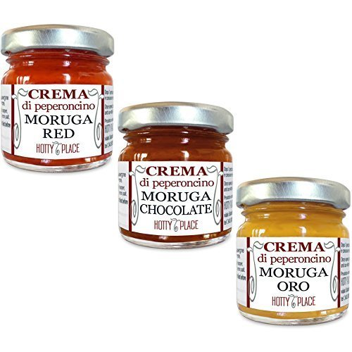 3 CREME peperoncino MORUGA: RED, ORO, CHOCOLATE Crema Peperoncino PICCANTE ESTREMO Kit 30g totali