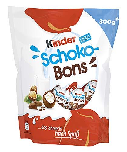 kinder Schoko-Bons, Einzelpackung mit 300 g, Schokokugeln aus Vollmilchschokolade mit Milchcreme-Füllung und fein gehackten Haselnuss-Splittern