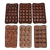 6 Pezzi Stampi in Silicone per Caramelle e Cioccolato, Stampi Flessibili e Facili da Pulir...