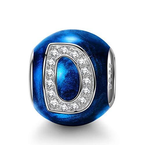 NINAQUEEN Charm para Pandora Charms Originales Plata 925 Letra D Azul Colgantes Regalos Mujer Zirconia Esmalte Abalorios Compatible con Pulsera Pandora & Europeo, con Caja de Regalo