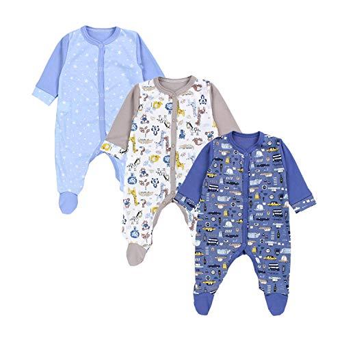 TupTam Baby Jungen Schlafstrampler mit Fuß 3er Pack, Farbe: Farbenmix 5, Größe: 86
