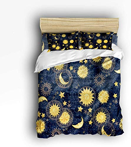 Set di Biancheria da Letto in 4 Pezzi, Boho Chic Art Golden Sun Moon e Stars on Blue