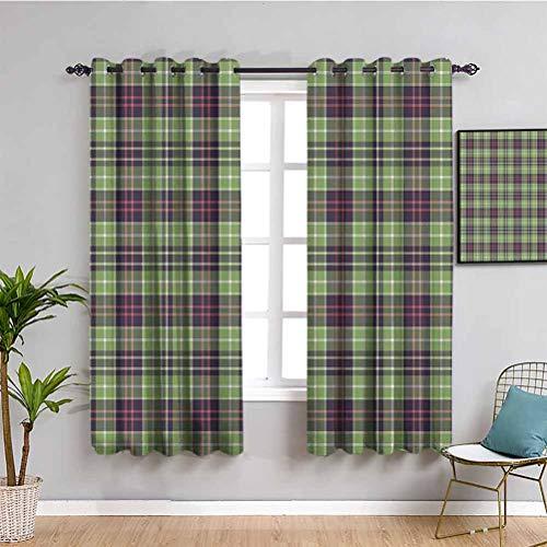 Just Contempo - Tende oscuranti per camera da letto, motivo a quadretti scozzesi, design classico a righe geometriche tradizionale per mantenere il buon sonno, multicolore, 52 x 63 cm