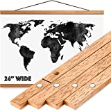 Magnetic Poster Hanger Frame 24' - Premium Quality Wood, Extra Strong Magnets, Quick & Easy Setup, Full Hanging Kit for Wall Art/Prints/Canvas/Photos/Pictures/Artwork/Scratch Map (24x18 24x32 24x36)