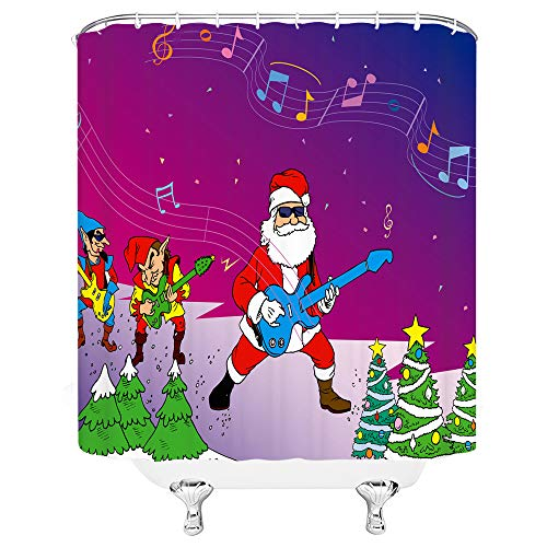 Xnichohe Santa Claus Shower Curtain for Bathroom,Christmas Music Dancing Party Musical Note Rock Snow Guitar Sheet Music Xmas Tree Polyester Fabric Bathroom Decor Set 70 Inches Hooks Green Yellow