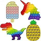 LIPPIA Pop It [Pack 4 pcs Piña+ Helado + Unicornio +Dinosaurio ] Fidget Toys, Geant XXL, Toy, Niño, Lote, Multicolor, Popit, Prime, Juegos Grandes, Arcoiris, Barato, Among us, Cuadrado, Bubble, Set