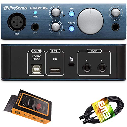 PreSonus AudioBox Ione USB Audio Interface 2-in/2-out with 1 x XLR Microphone Input, 1 x 1/4' Instrument Input, Studio One Artist DAW with Gravity Phone Holder and EMB XLR Cable PK1 Bundle
