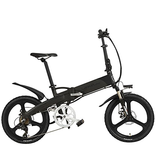 LANKELEISI G660 Elite 20 Inches Folding Electric Bike, 48V Lithium Battery, Integrated Wheel, with Multifunction LCD Display, Pedal Assist Bicycle (Black Gray, Plus 1 Spare Battery)