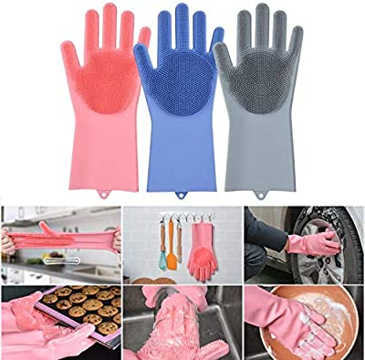 JOHN RICHARD VEU Silicone Magic Cleaning Reusable Dishwashing Gloves with Scrubber for Wash Dish, Kitchen, Bathroom (Pink, Right and Left Hand) 1 Pair