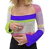 ASLBSBOXWOMEN Las mujeres de manga larga bloque de color Crop Top Crochet Knit Squre cuello Tank blusa verano y2k 90s jersey camisas, Morado y verde., M