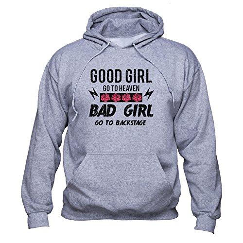 Good Girl Go to Heaven Bad Girl Go to Backstage Sweatshirt Rock Band Fan Hoodie Rock Star Fan Pullover Music Festival Women Unisex Kapuzenpullover Grau M