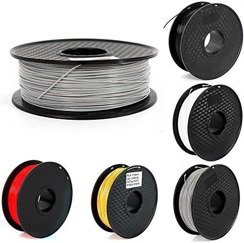 3D Printer Filament PLA - 1.75mm -2.2 LBS (1KG) Spool 3D Filament - 5 Colours 3D Printing filament Low Odor Dimensional Accuracy +/- 0.03 mm (Grey) iteration