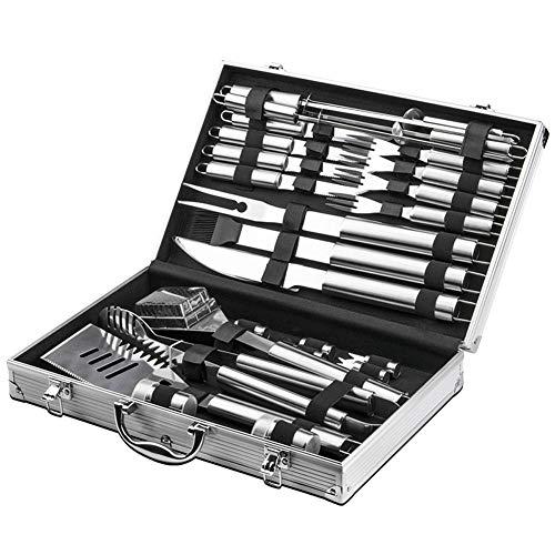 SXSHYUJE hitzebeständig 26 Teiliges Grillbesteck Set, BBQ Grillen Tool Kit mit Aluminium Aufbewahrungskoffer, Ideales Grillset für Camping/Garten Party Rostfreier Stahl