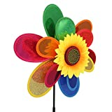 Wanfor Pailletten Doppelschicht Sonnenblume Windmühle Wind Spinner Hausgarten Hof Dekoration