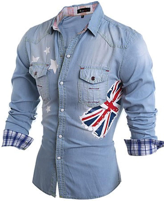 HAN-NMC Men'S Casual Daily Simple Shirt,Print Classic Collar Long Sleeves Cotton,2Xl,Light bluee