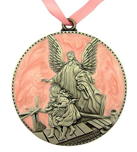 Sacred Traditions médaille en étain et Berceau de l'émail avec Ange Gardien pour la décoration Chambre de bébé, 3 Pouces