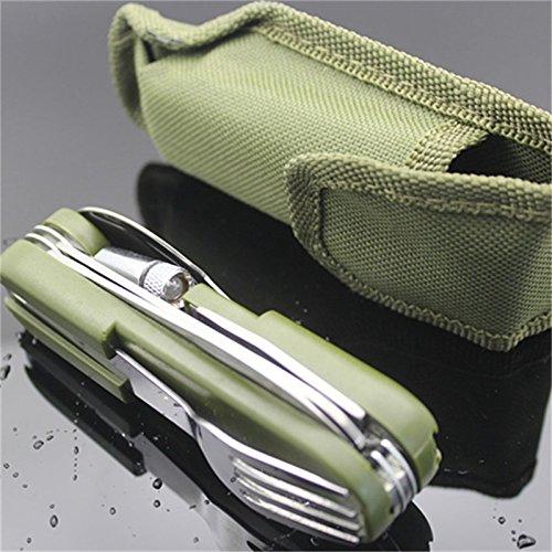 TOOGOO LED vajilla al aire libre de acero inoxidable plegables de picnic tenedor cuchara conjunto abridor de botellas