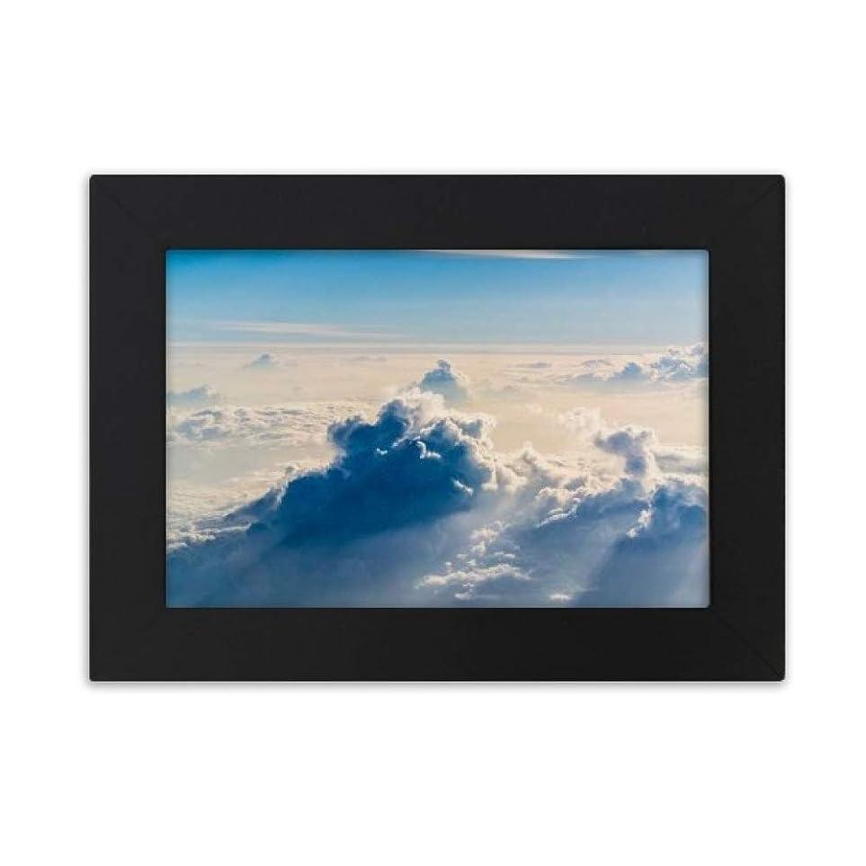 ふける作り日光が雲の青空 デスクトップフォトフレーム画像ブラックは、芸術絵画7 x 9インチ