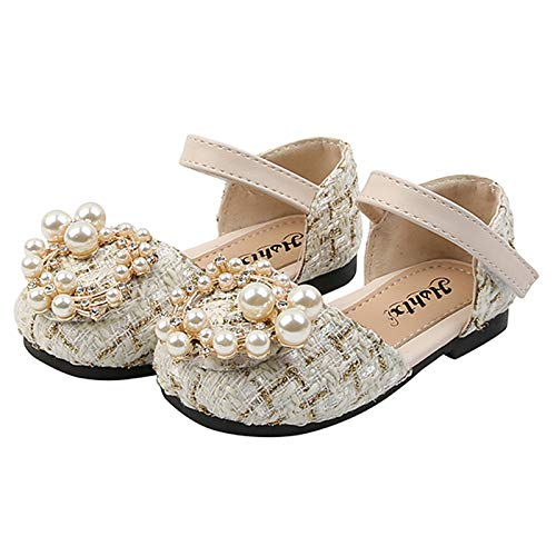 Hungryme Niña Zapato de Princesa para Niños Primeros Pasos Zapatos con Moda Casual Flor Suave Suela Zapatillas Antideslizantes Zapatos de Princesa (Beige, 28)