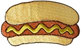 Hot Dog in Bun with Mustard Iron on Embroidered Applique Patch
