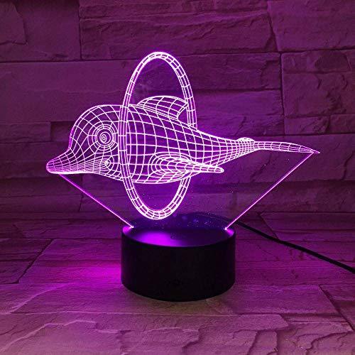 GBBCD Luz nocturna El circo lindo delfín 3D llevó la ilusión de la lámpara llevó la luz de la noche 7 colores luces de la decoración de la tabla para los niños Self Gifting o amigos