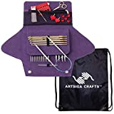 addi Knitting Needles Click Grab N Go Interchangeable Circular Set White-Bronze Finish Skacel Blue Cables Bundle with 1 Artsiga Crafts Project Bag
