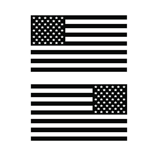 USA Subdued Single Color American Flag 50 Stars 2 Vinyl Die-Cut Decals - Includes Standard and Reversed Designs - Small - Black