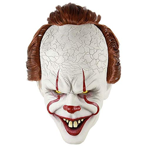 sunxc Stephen Kings Es Maske, Pennywise Scary Clown Latex Maske, Horror Joker Maske Clown Maske Halloween Cosplay Kostüm Requisiten
