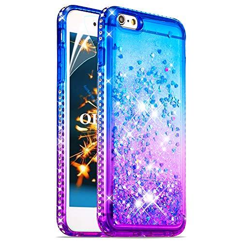 OKZone Cover iPhone 6S/6 Plus[con Pellicola Proteggi Schermo],Glitter Liquido Custodia Moda 3D Pendenza Bling fluente Cover Morbido TPU Bumper Telefono Case per Apple iPhone 6S/6 Plus 5,5'(Blu Viola)