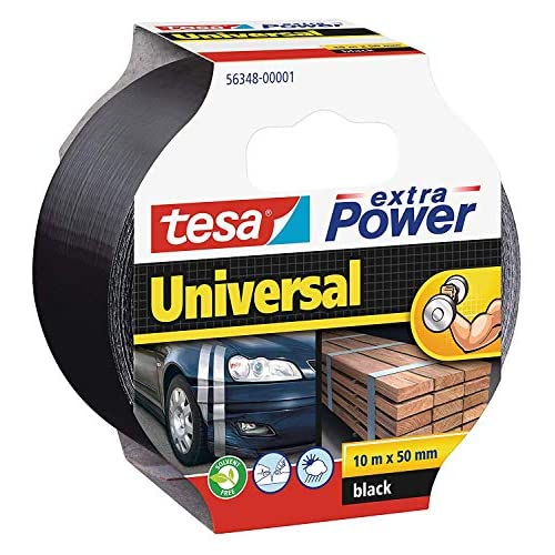 Tesa TE56348-00001-05 Cinta Americana Extra Power Universal 10m x 50mm Negra, Standard