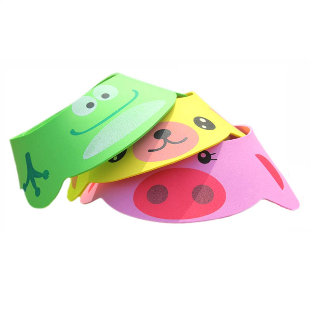 3PCS Baby Shower Bathing Cap Cartoon Frog Pig Bear Shampoo Hat Protection Bathing Visor Cap with Four Gear Adjustments by Rely2016