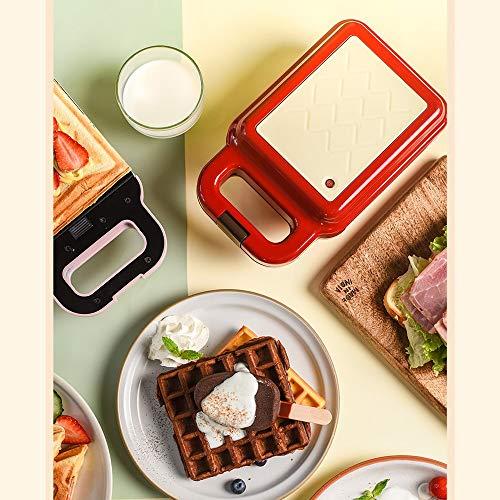 Chef Turk Multifuncional Creador De Habitaciones 3 Minutos Calentador De Bricolaje Sandwich Waffle Inicio Tostador Mini Eléctrico Molde De Horno Doble Sartén Antiadherente (Color : Pink)