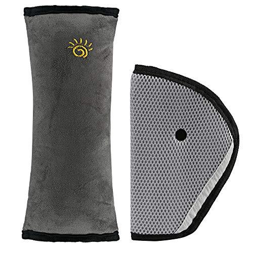 LEMESO 2 Stück Gurtpolster Auto Sicherheitsgurt Schutzkissen Abnehmbar für Kinderautositze für Kinder Jungen Mädchen Grau (Verpackung MEHRWEG)