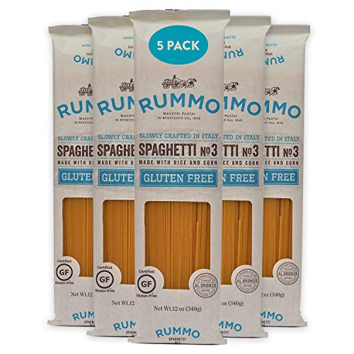 Rummo Italian Pasta GF Spaghetti No.3, Always Al Dente, Certified Gluten-Free (5 Pack, 12 Ounce Each)