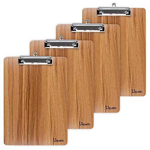 Uquelic Klemmbrett/Schreibbrett/Clipboard A5-4Pcs Klemmbretter A5 Eleganz Luxus Holzmaserung Abgerundete Ecken Zwischenablage mit Robustem Clip und Loch Zum Aufhängen