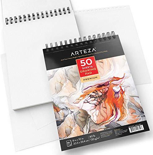 Arteza Blocco da Disegno Professionale Arteza 20,3x25,4 cm, Confezione da 1 Album Spiralato da 50 Fogli 130g/m², Carta Bianca, Ideale Per Tecniche a Secco per Principianti ed Esperti
