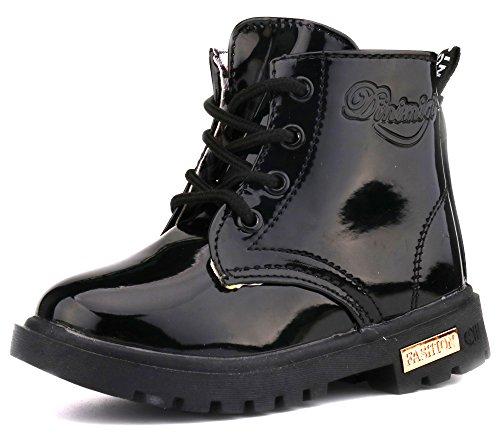LONSOEN Boys Girls Waterproof Lace/Zip Up Kids Boots,KDB002 Black CN21