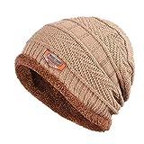 Nuevos Sombreros de Lana de Punto de Color sólido para Hombres, Sombreros de Invierno para niños, cálidos y aterciopelados, con Capucha y Calavera para Hombres-Khaki