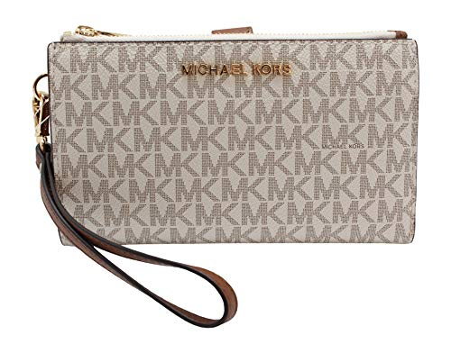 Michael Kors Jet Set Travel Double Zip Wristlet - Signature PVC (Vanilla PVC/Dark Acorn)