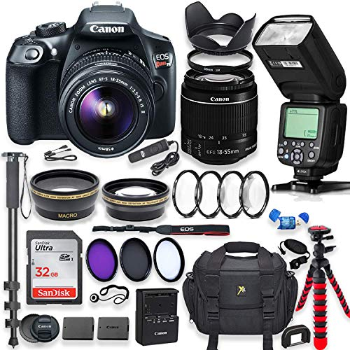 Canon EOS Rebel T6 DSLR Camera with 18-55mm is Lens Bundle + Speedlight TTL Flash + 32GB Memory + Filters + Monopod + Spider Tripod + Professional Bundle