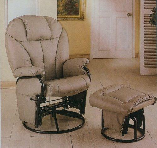 Astounding Bone Leatherette Glider Rocker Recliner Chair With Ottoman Machost Co Dining Chair Design Ideas Machostcouk